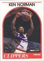 Ken Norman Los Angeles Clippers 1989 Hoops Autographed Hand Signed Trading Card. by Hall of Fame Memorabilia