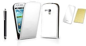 Rhaise Samsung Galaxy S3 mini I8190 Echt Leder Flip case (Weiss) Ledertasche Hülle Klapptasche in weiss inkl. Gratis Displayschutzfolie und Stylus touch Pen/Stift