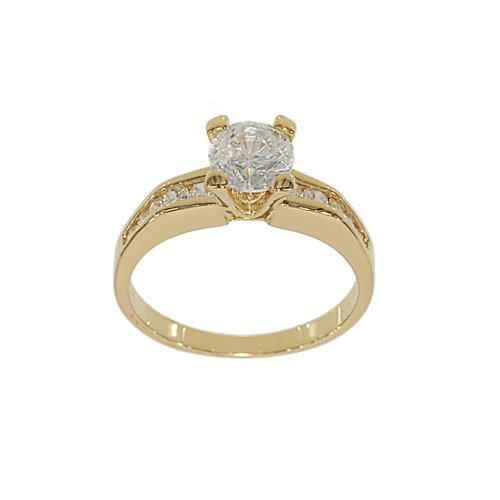 Goldtone Classic Engagement Ring Style Solitaire Fashion Ring with Channel Set Sides in Clear Cubic Zirconia Size 5
