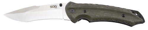 Sog Specialty Knives & Tools Ku-1011 Kiku Folder Knife With Straight Edge Folding 4.6-Inch Blade And Linen Micarta Handle, Satin Finish