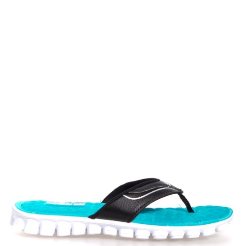 Skechers Women'S Ez Flex Cool - Summer Solstice Black/White Sandal 8 B - Medium front-453627