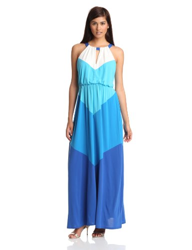 Vince Camuto Women's Colorblock Maxi Dress, Malibu Blue, 6