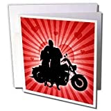 Doreen Erhardt Love and Romance - Motorcycle Love with the Silhouette of a Couple and a Heart Background - Greeting Cards-12 Greeting Cards with envelopes