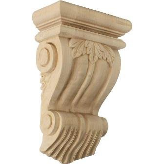 Ekena Millwork Cor07X03X10Trch 7 In. W X 3.5 In. D X 11 In. H Traditional Leaf Corbel, Cherry, Architectural Accent back-539770
