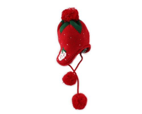 BONAMART ®Baby Boy Girl Warm Beanie Earmuff Strawberry Winter Hat Cap