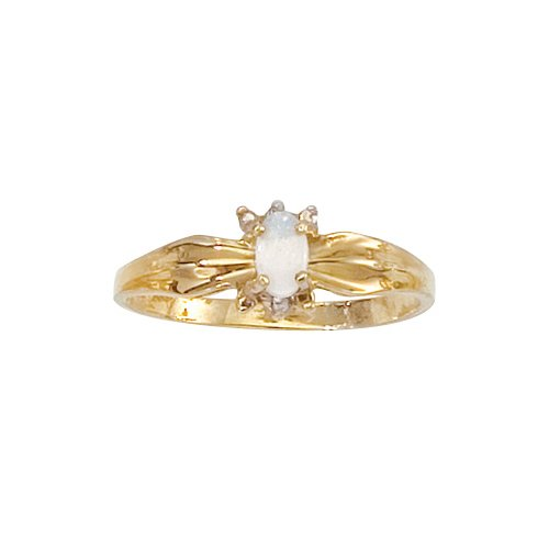14K Yellow Gold 0.01 ct. Diamond and 5 x 3 MM Oval Shaped Opal Ring