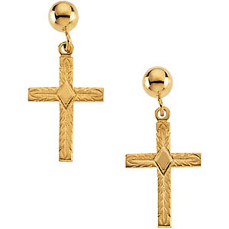 Cross Earrings - 14K Yellow Gold - 13 X 10 X 1 mm