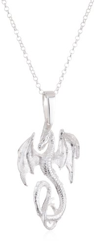 VINANI German 925 Sterling Silver Women Pendant big Dragon shiny with Pearl & Cable Link Chain Necklace 20″ ADG-T50