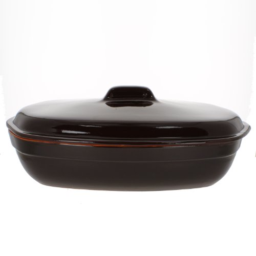 Coli Bakeware CL02-BR--C3 Italian Ceramic Oval Roasting Pot, 3.25-Quart, Brown