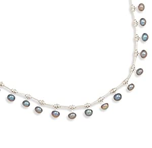 Sterling Silver 16 Inch Liquid Silver With 15 Peacock Cultured Freshwater Pearls Necklace