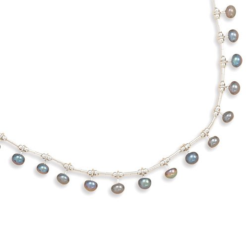Liquid Silver with 15 Peacock Cultured Freshwater Pearls Necklace