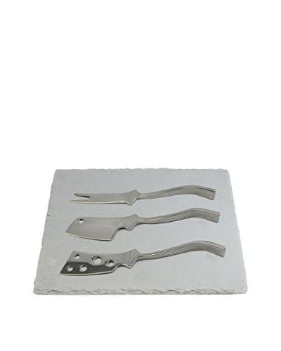 Gela Cheese Knives Set with Slate Board, Metal/Grey