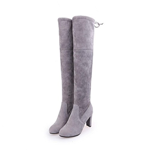 Fheaven Women Stretch Faux Slim High Warm Boots Over The Knee Boots High Heels Shoes (US:7, Gray)