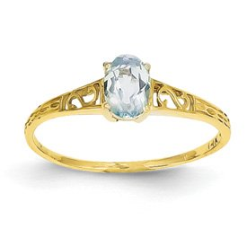 Genuine IceCarats Designer Jewelry Gift 14K March Birthstone Ring Size 6.00