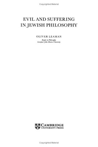 Evil and Suffering in Jewish Philosophy (Cambridge Studies in Religious Traditions)