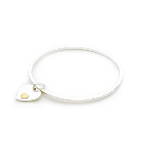Bling Rocks 925 Sterling Silver Plated Designer Inspired 'Gold Heart' Charm Bangle/Bracelet