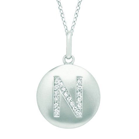 Sterling Silver 0.08Ct Tdw Diamond Round Initial N Disc Pendant (H-I, I2-I3)
