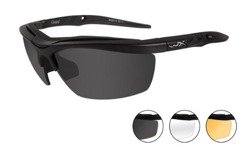 Wiley X Guard Sunglasses, Smoke Grey/Clear/Light Rust, Matte Black front-219788