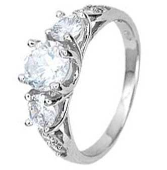 Sterling Silver Three Stone Engagement Ring With Round Cubic Zirconias