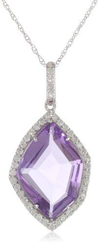 "10k White Gold Organic Amethyst Diamond Pendant Necklace (1/5 cttw, I-J Color, I2-I3 Clarity), 18"""