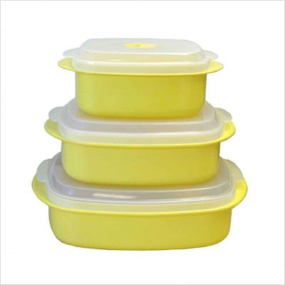 Calypso Basics Microwave Steamer Set in Lemon [Set of 2]