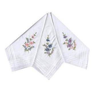 12 paquets de mouchoirs femme avec fleurs brodées 100% pur coton