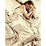 Cream Satin King Size Quilt Duvet Set With Fitted Sheet