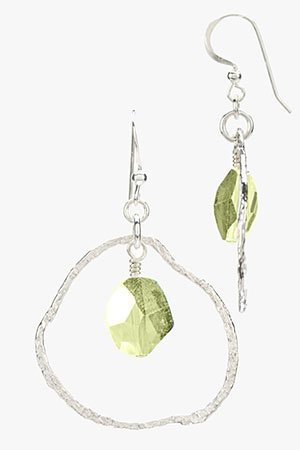 Contemporary Silver Circle Earrings with Swarovski Crystal Drop (Small) Olive
