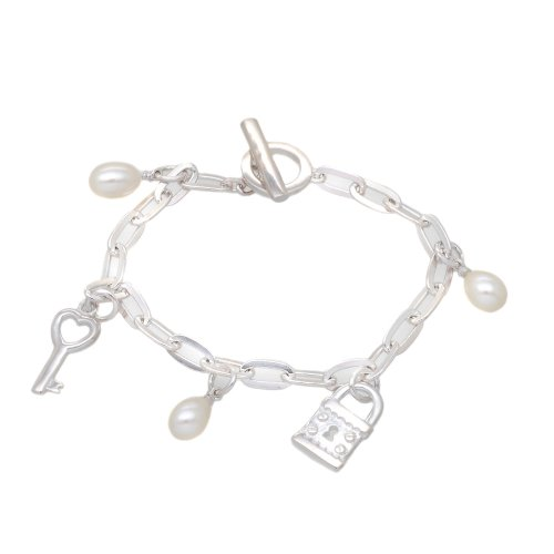 Silver Key  &  Lock and Pearl Charm T-Bar Bracelet 6.75