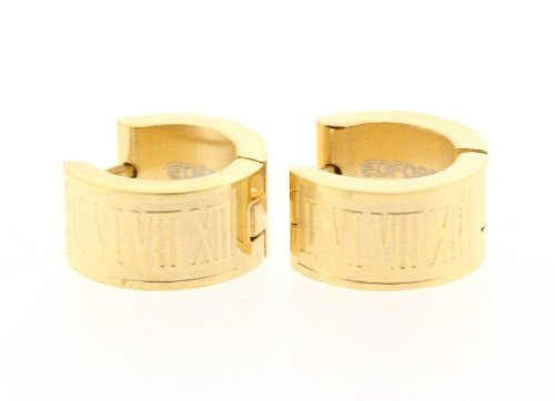 Gold Clip Stainless Steel Earrings w/ Roman Numeral Design