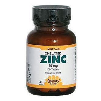 Country Life Zinc 50 mg (amino Acid Chelate), Tablets,  100-Count