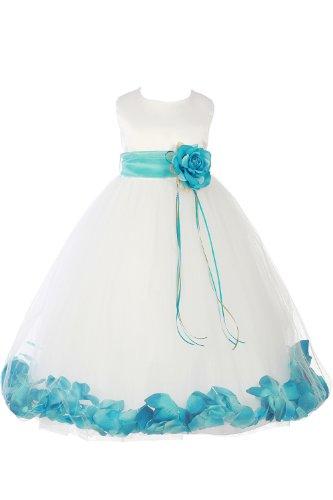 Jm Dreamline White/Aqua Girls Sleeveless Satin Flower Petal Dress With Sash-8