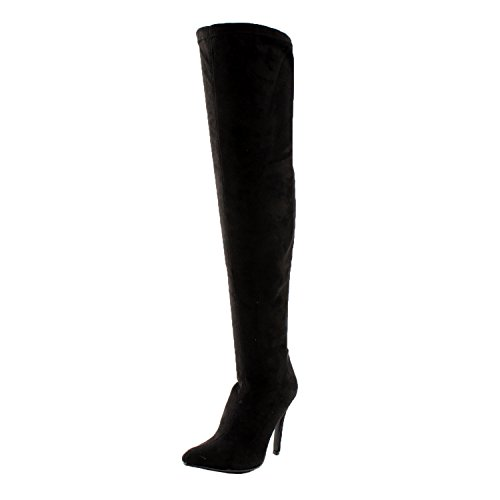 Image of Breckelles Beverly-15 Women Faux Suede Pointy Toe Stiletto Heel Thigh High Boot,Black,7