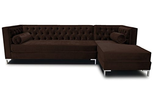 Decenni Tobias 9.5 Foot Tufted Right Arm Chaise Facing Tone Piping Sectional Bittersweet front-925693
