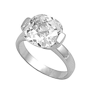 Silver Engagement Ring With CZ for Women - Size 10