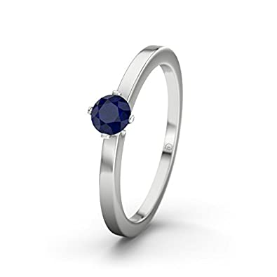 21DIAMONDS Women's Ring Bahamas Blue Sapphire Diamond Engagement Ring - Silver Engagement Ring