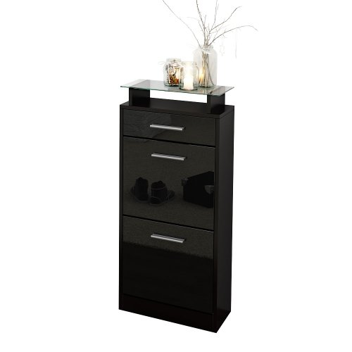 Cheap Shoe Cabinet Organiser Shoe Rack Loret Carcass In Black Matt