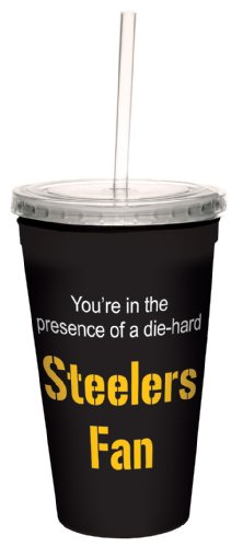 Tree-Free Greetings Cc34132 Steelers Football Fan Artful Traveler Double-Walled Cool Cup With Reusable Straw, 16-Ounce front-343237
