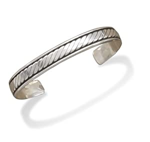 Sterling Silver Oxidized Mens 10mm Cuff Bracelet With Rope Design - JewelryWeb