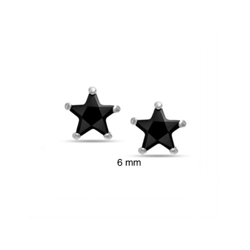 Bling Jewelry Patriotic Unisex Mens CZ Black Star Stud Earrings Sterling Silver