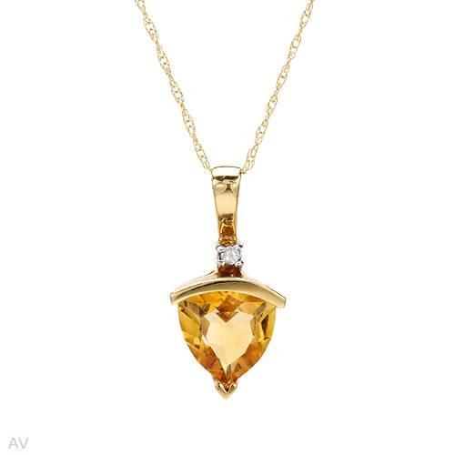 Yellow Gold 1.07 CTW Citrine and 0.02 CTW Color J I3 Diamond Ladies Necklace. Length 18 in. Total Item weight 1.7 g.