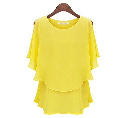 yuguo-womens-double-layers-pure-color-plus-size-chiffon-shirt-top