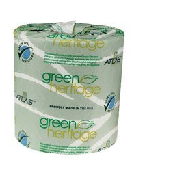Atlas Paper Mills 280Green - Green Heritage Bathroom Tissue, 2-Ply, 500 Sheets, White, 96 Per Carton front-483643