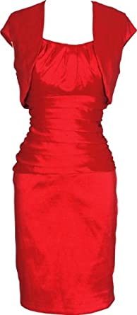 Scoop Taffeta Knee Length Formal Bridesmaid Shift Dress with Bolero, 2X, Red