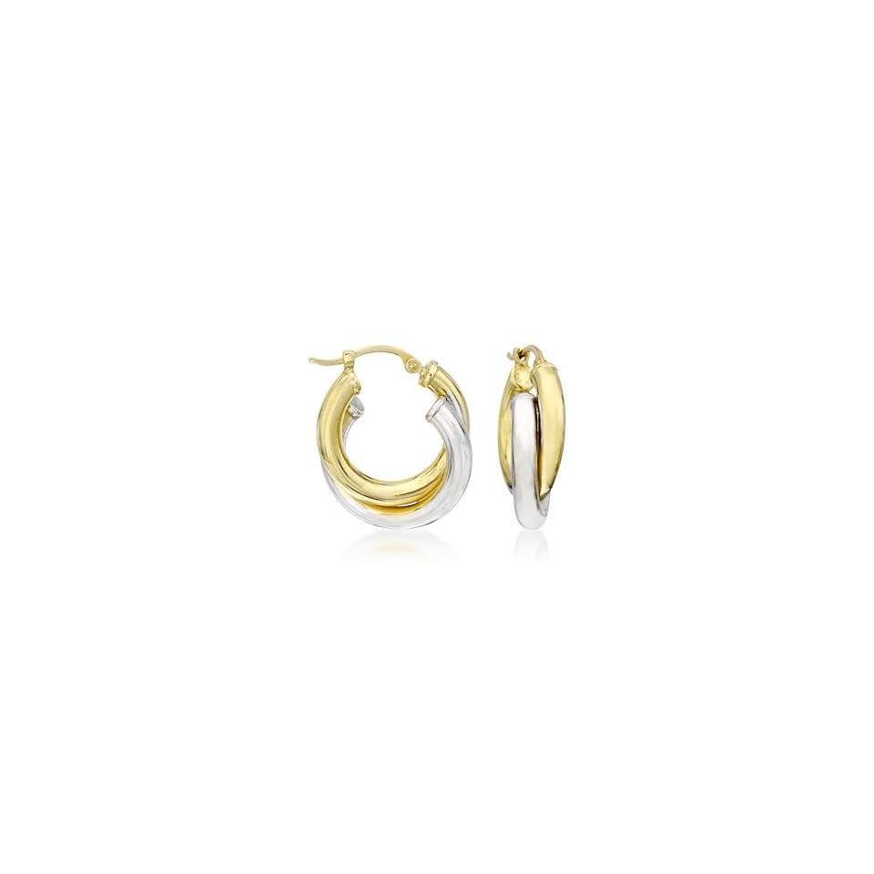 14kt Two Tone Gold Interlocking Hoop Earrings