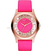Marc Jacobs Rose Gold Henry Skeleton Pink Leather Ladies Watch - MBM1243