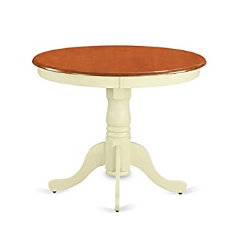 """East West Furniture ANT-WHI-TP Antique Table 36"""" Round With Buttermilk And Cherry Finish"""