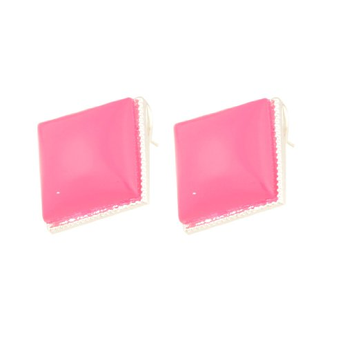 Rosallini Pair Glittery Rim Fuchsia Plastic Earbob Pierced Earrings for Lady