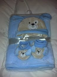 Baby Gear 3 Piece Blue Puppy Set With Booties, Hat and Blanket