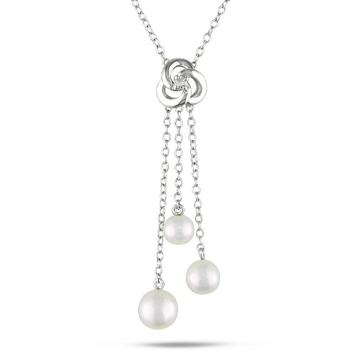 Sterling Silver 0.03 CT TDW Diamond Freshwater White Pearl Necklace (G-H, I2-I3)